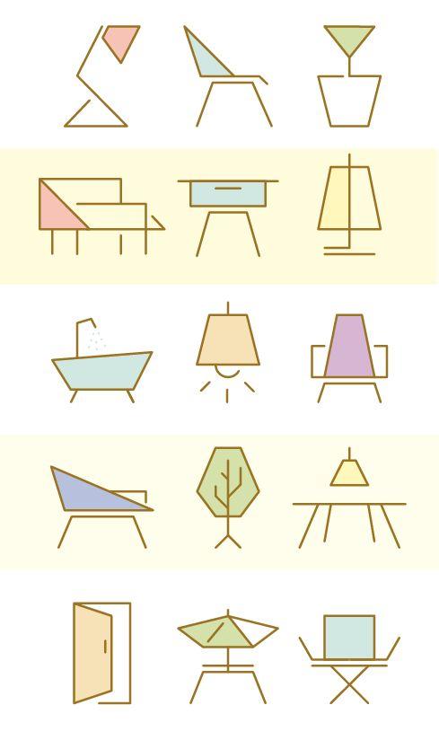 Interior Design Logo Ideas cool interior design logo line creation nc Furniture Icon Set For Manuela Naranjo Interior Design
