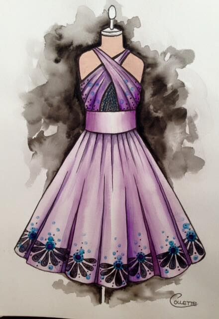 Cross your hearts ladies, or the 'girls' anyway! Purple swing dress with a crossover bodice and insert. Border print on the hem finishes it off nicely. Watercolour dress by Collette Fergus