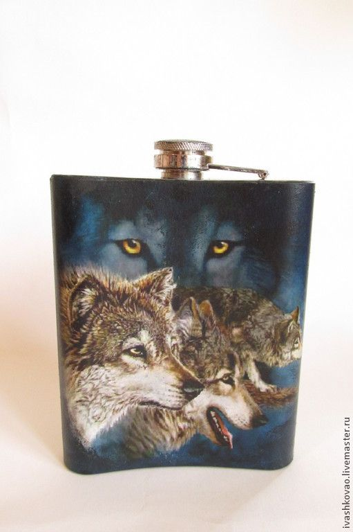 Купить Фляжка Стая - фляжка, подарок мужчине, черный, синий, бутылка, волки, загадка, ребус