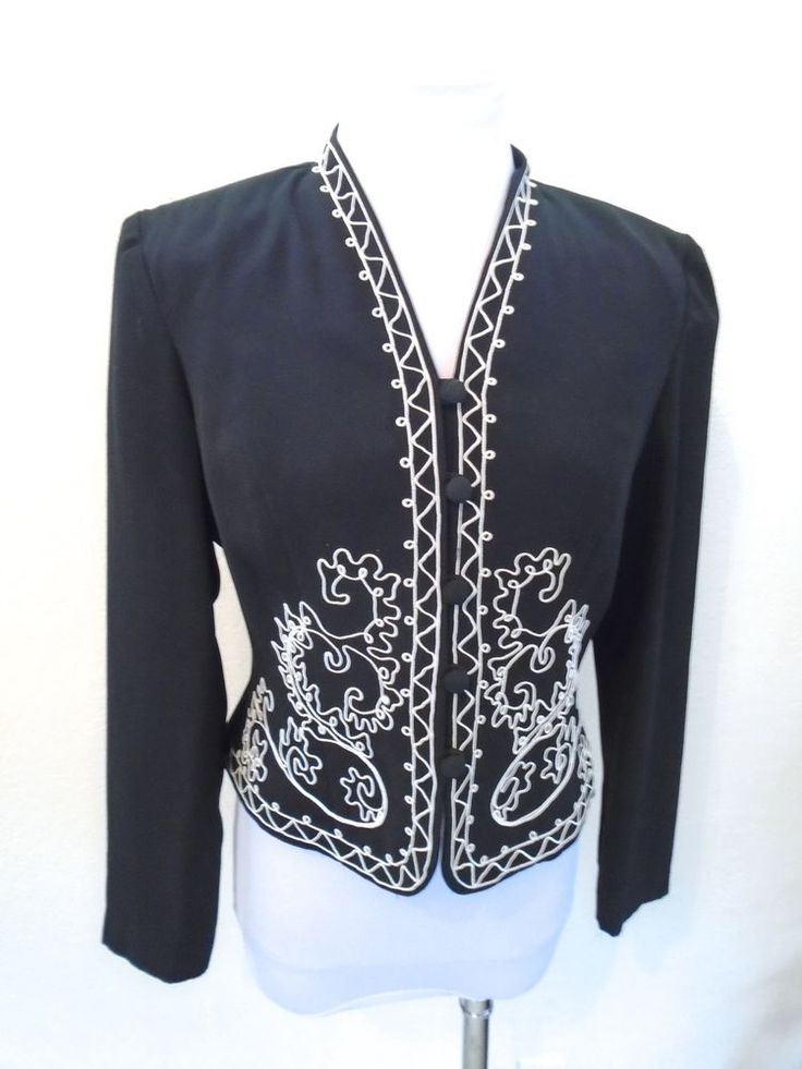 VINTAGE Mod CHIC Black & Cream Accent Lined Crop Bolero Blazer Jacket size 6 #KarinStevens #Blazer