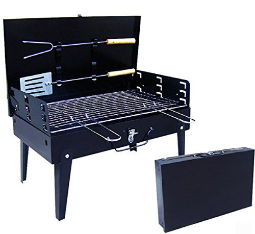 SHOWYOUR Portable Fold-able Legs Stainless Steel Outdoor Camping Holiday Travel Cookouts Charcoal BBQ Grill Box Yakitori Kebab Satay Roast Mutton Beef Vegetables or Grilled Fish Corn Kit Black