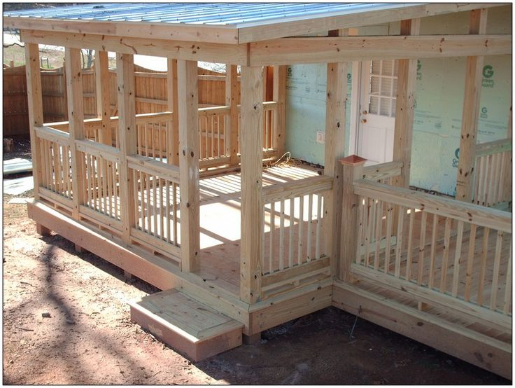 Covered deck with railing deck cover pinterest for Outdoor porches and patios