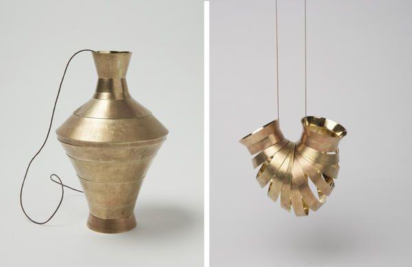 Jing Yang Pendant: Ich bin keine Vase, 2014 - TALENTE 2015 WINNER Brass, cotton band 15 x 10 x 76 cm