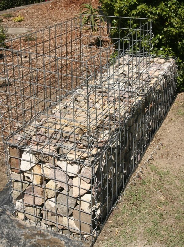GardenDrum CStewart 11 gabion wall lower level packed & upper level cage assembled