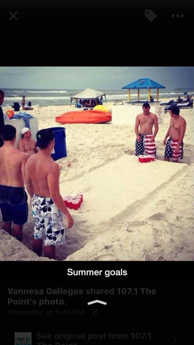 Beach beer pong!