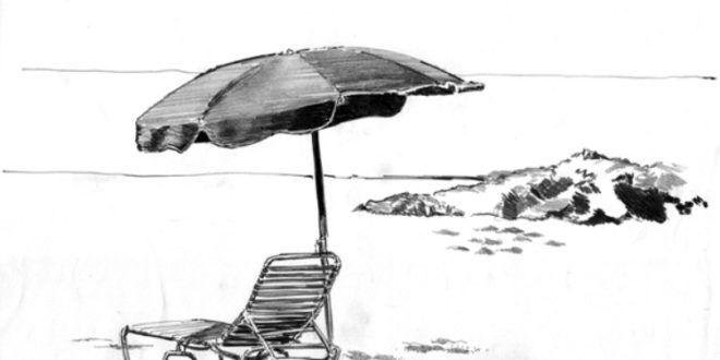 Aneka Sketsa Pemandangan Pantai Yang Indah | WarnaGambar.com