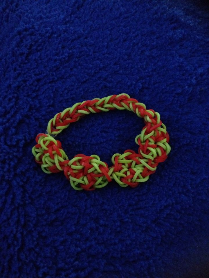 Christmas Wreath Bracelet I made and designed - not from YouTube.