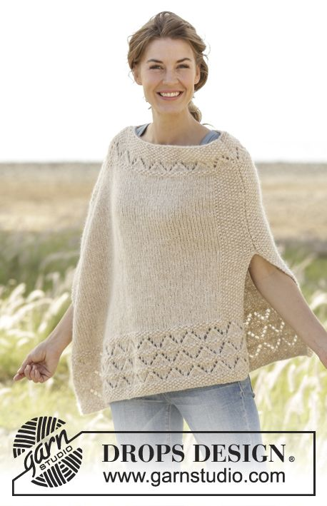 So Classy! / DROPS 170-28 - Knitted DROPS poncho in moss st with lace pattern in Air. Size: S - XXXL.