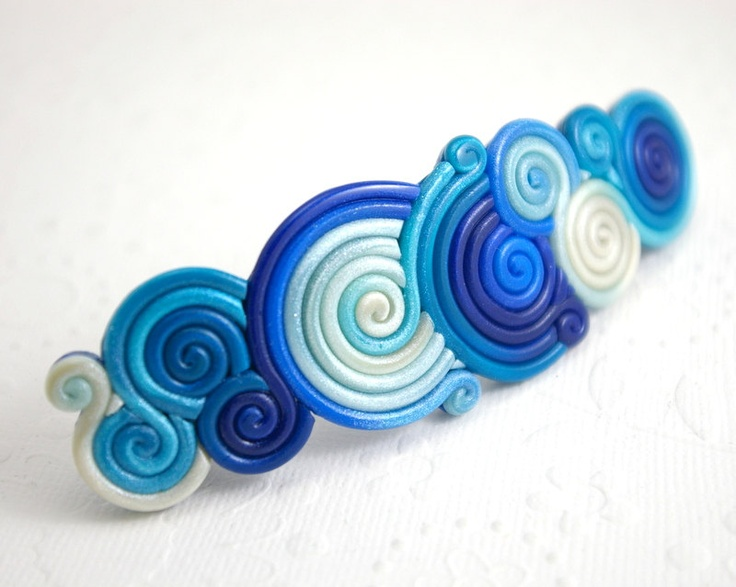 Blue French Barrette in Polymer Clay Filigree. StarlessClay on Etsy.