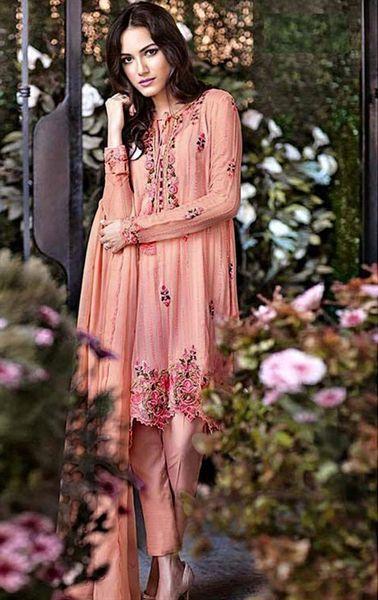 Picture of Tangerine Deep Pink Latest Online Salwar Kameez