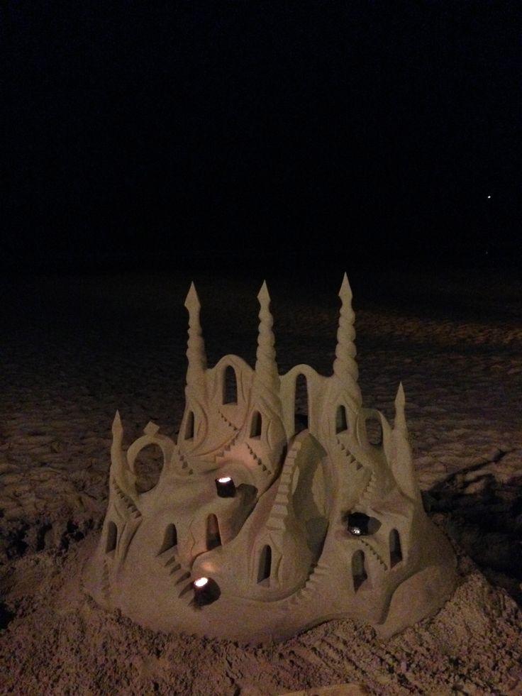 Spectacular sand castle, Noosa Beach, Queensland, Australia