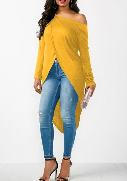 963dc419e17e1 Yellow Irregular Asymmetric Shoulder Cut Out High-low Long Sleeve T-Shirt