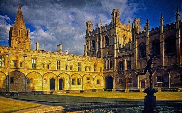 Telegraph - Guests can wander in Tom Quad at Christ Church, Oxford, or have breakfast in the cathedral-like Great Hall