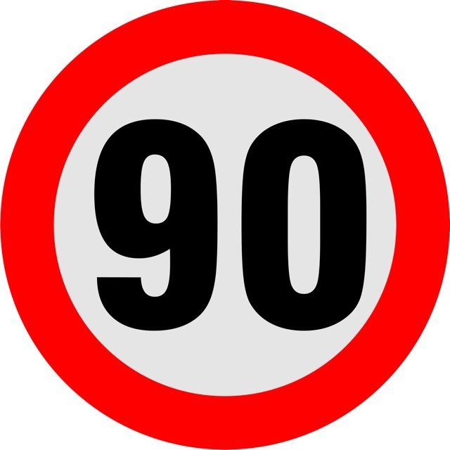 Naklejka Ograniczenie prędkości. Oznaczenia określają indywidualną dopuszczalną prędkość ustaloną przez organ rejestrujący.