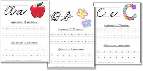 very simple dowloadable cursive handwriting worksheets freebie - laminate (or place in a sheet protector) for quick and easy practice over and over