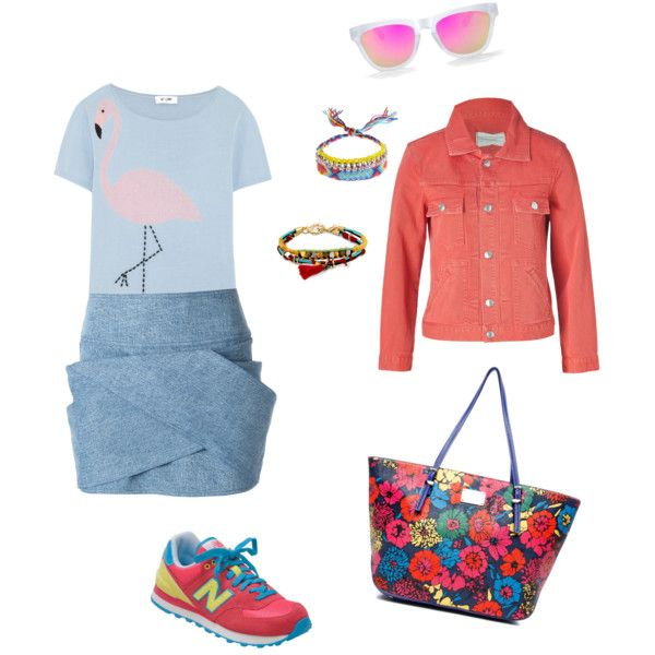 """Flamingo tshirt"" by workingincloset on Polyvore #FASHION #LOOKOFTHEDAY #ONBLOG #RED #BLUE #BAG #OUTFIT #OOTD #BLOGGER #FASHIONSTYLE"