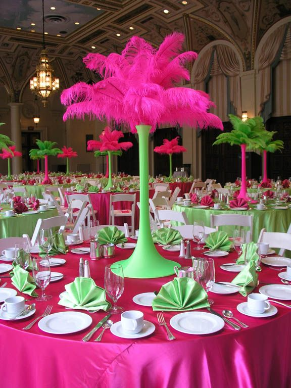 Feather stand hot pink lime green party decorating ideas