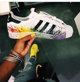Adidas Superstar Shoes Black Red Yellow Green