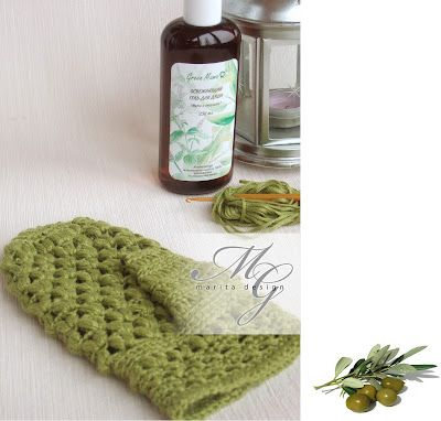 Bath mitts - a branch of olive description