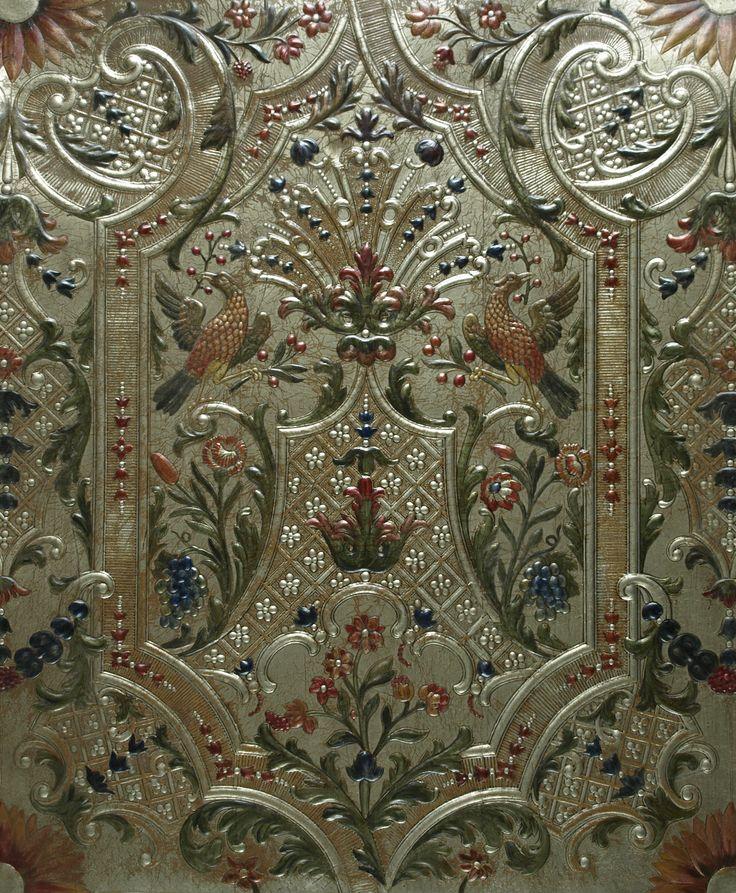 ❤ - Bespoke Marot Panel  Leather: Panels Leather, Gilt Leather, Gild Leather, Panels Floors, Marot Panels, Daniel Marot, Murals Panels, Bespoke Marot, Bespoke Daniel
