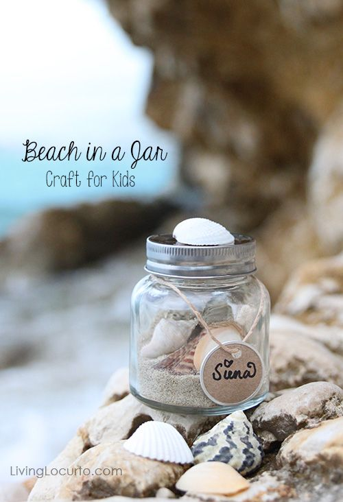Easy Kids Craft Idea to Preserve Vacation Memories - Beach in a Jar - LivingLocurto.com