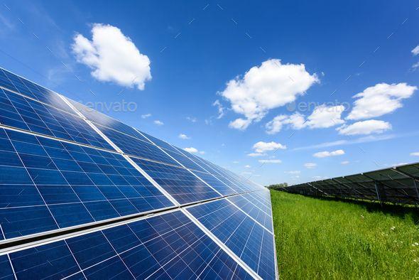Solar Panel On Blue Sky Background Blue Sky Background Solar Panels Outdoor Panels