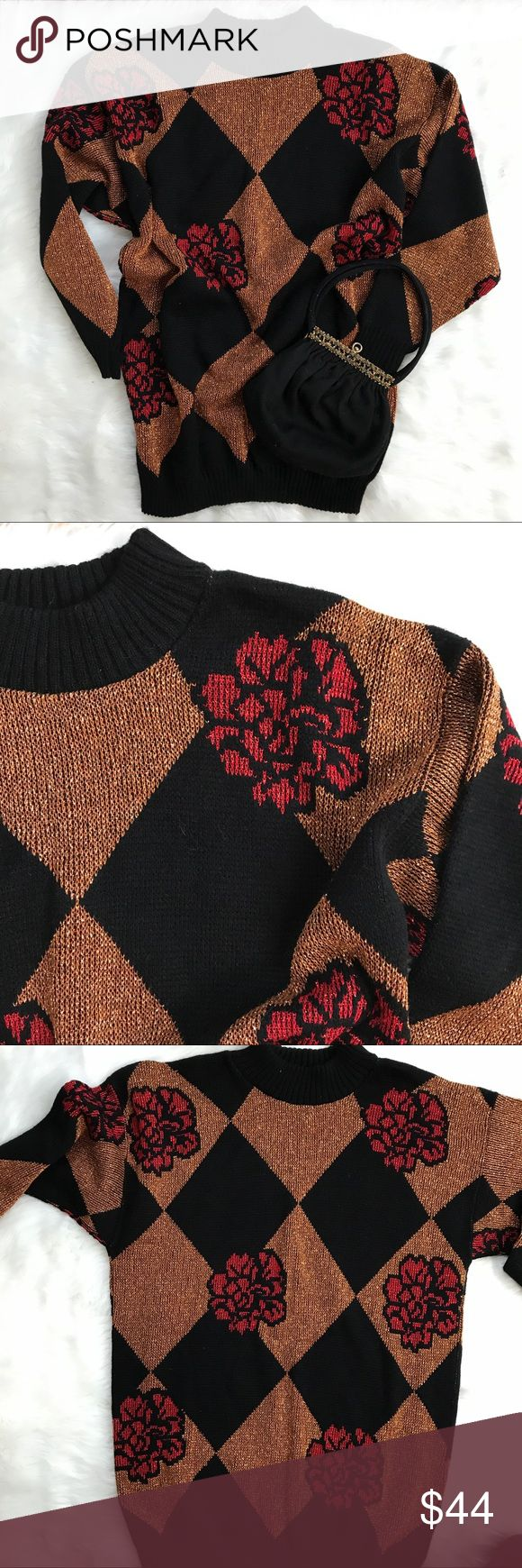 "Vintage 90's Black Bronze Glittery Sweater This oversized sweater looks great with black leggings. Dana Scott brand. Roses add the perfect contrast. Long , oversized style. No shoulder pads. Great condition. Unstretched measurements 42"" bust. 31"" around bottom. 30"" long. Vintage Sweaters"