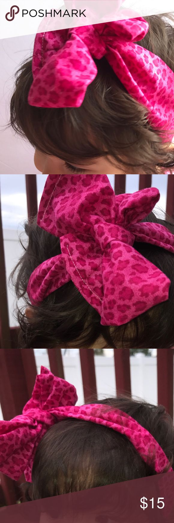 Oversized Leopard Print Pink Baby Turban Headband Handmade by closet owner oversized baby wrap Headband 17 inches tied can fit newborn to 15 months when tied. 100%cotton Accessories Hair Accessories