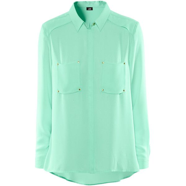 H&M Blouse ($19) ❤ liked on Polyvore featuring tops, blouses, shirts, h&m, mint green, green top, green chiffon blouse, chiffon shirt, mint green shirt and shirt blouse