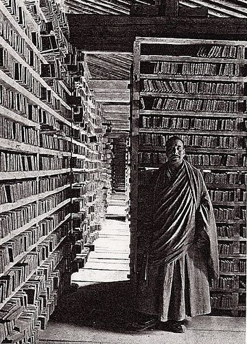 Choni Monastery Library in Gansu Province, China. This fascinating photograph was taken in 1925 by Joseph Rock, an Austrian-born American botanist, anthropologist and explorer who lived in Southwest China from the 1920s to 1949.: