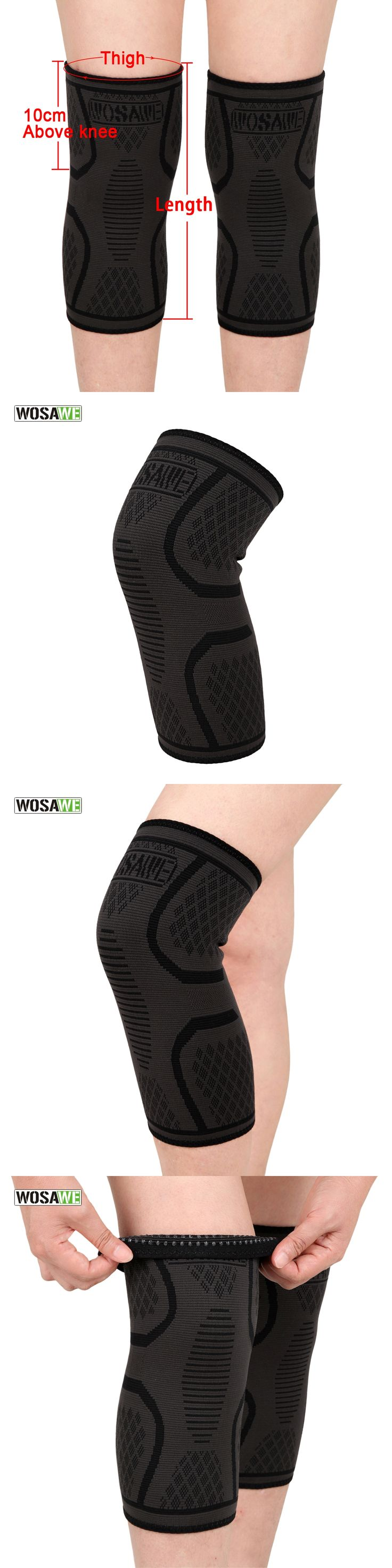 WOSAWE 1 PC Elastic Fitness Knee Pad Compression Cycling Running Hiking Outdoors Sports Knee Brace Support Spandex Comfort Guard