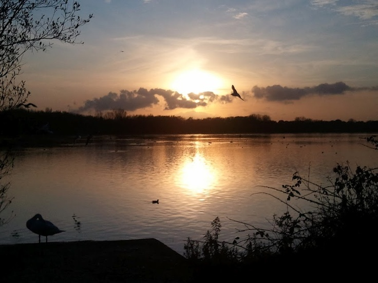 Sunset at Pennington Flash Country Park in Leigh, Greater Manchester
