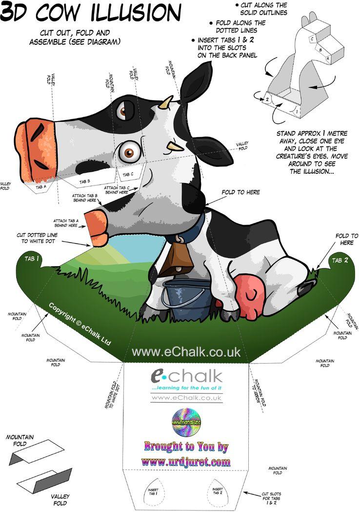 Uau! Veja o que temos para Vaca 3D de Papel que Mexe a Cabeça