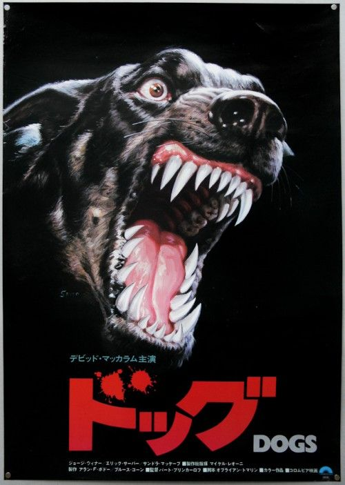 """Japanese film poster for the film """"Dogs"""". Intense. The type adds even more tension. So cool."""