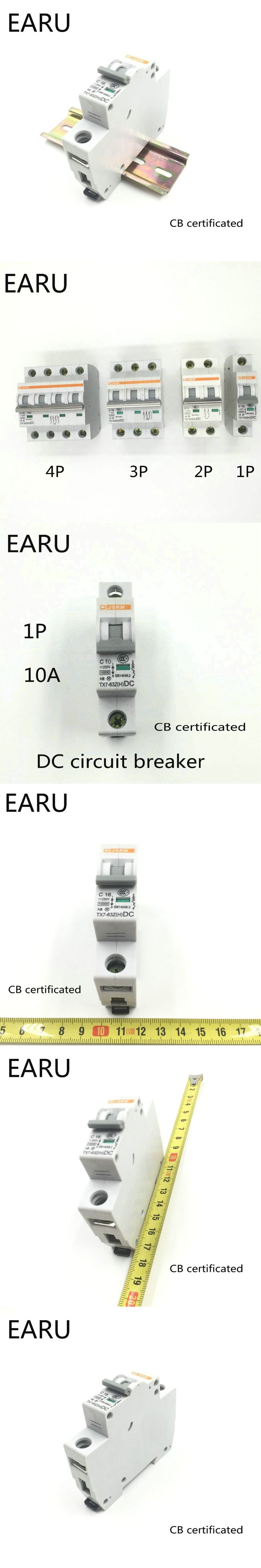 1P 10A DC 250V DC Circuit Breaker MCB for PV Solar Energy Photovoltaic System Battery C curve CB Certificated Din Rail Mounted