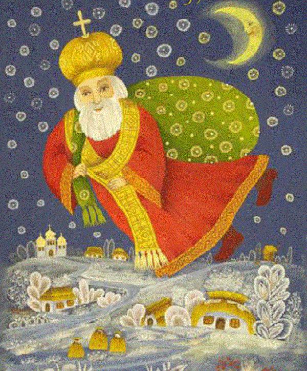 'По национальности он, по-видимому, был грек. Его полное имя по-гречески звучит Николаус... Святитель Николай - «третий после Бога и Богородицы», как пишет о нём летопись... Он сотворил несметное множество чудес и не прекращает творить их до сих пор...' Святой Николай, ещё будучи мальчиком, делал доброе дело и... убегал, чтобы избежать благодарности. Став же взрослым мужем святой Николай продолжал помогать людям и скрывался после этого по той же …