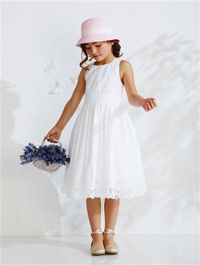 robe cortège fille sans manches en coton