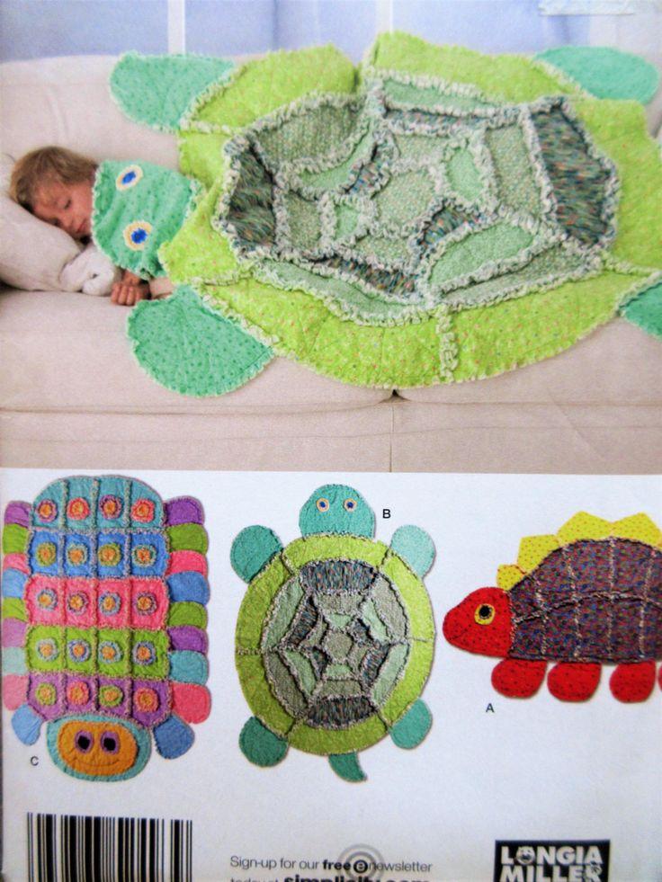 Simplicity 2493 Sewing Pattern Animal Throws Rugs Turtle Blaket Dinosaur Throw