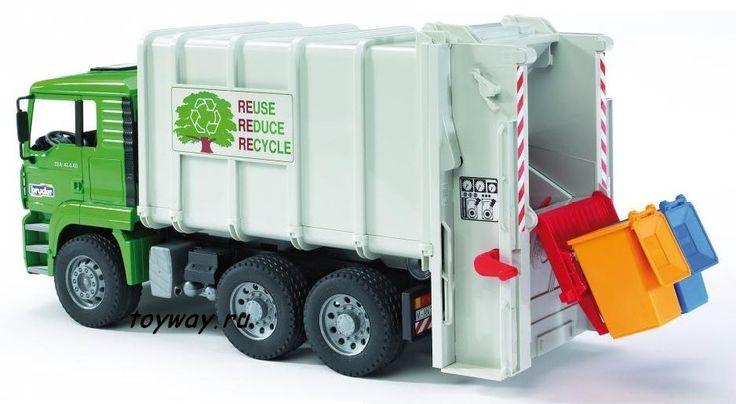 MAN мусоровоз с задней загрузкой мусорных корзин (Bruder, 02-764)