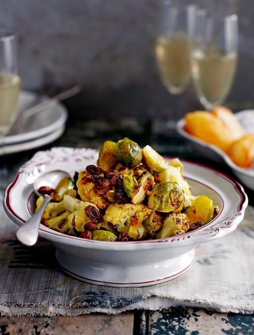 Sicilian roasted cauliflower + brussels sprouts via Jamie Oliver
