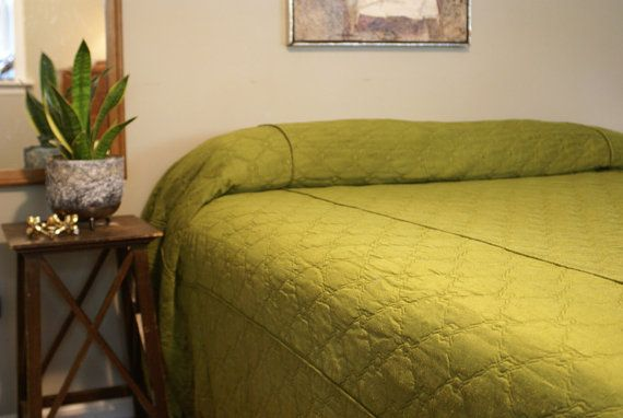 Olive Green Quilted King Bedspread Bedrooms Bed
