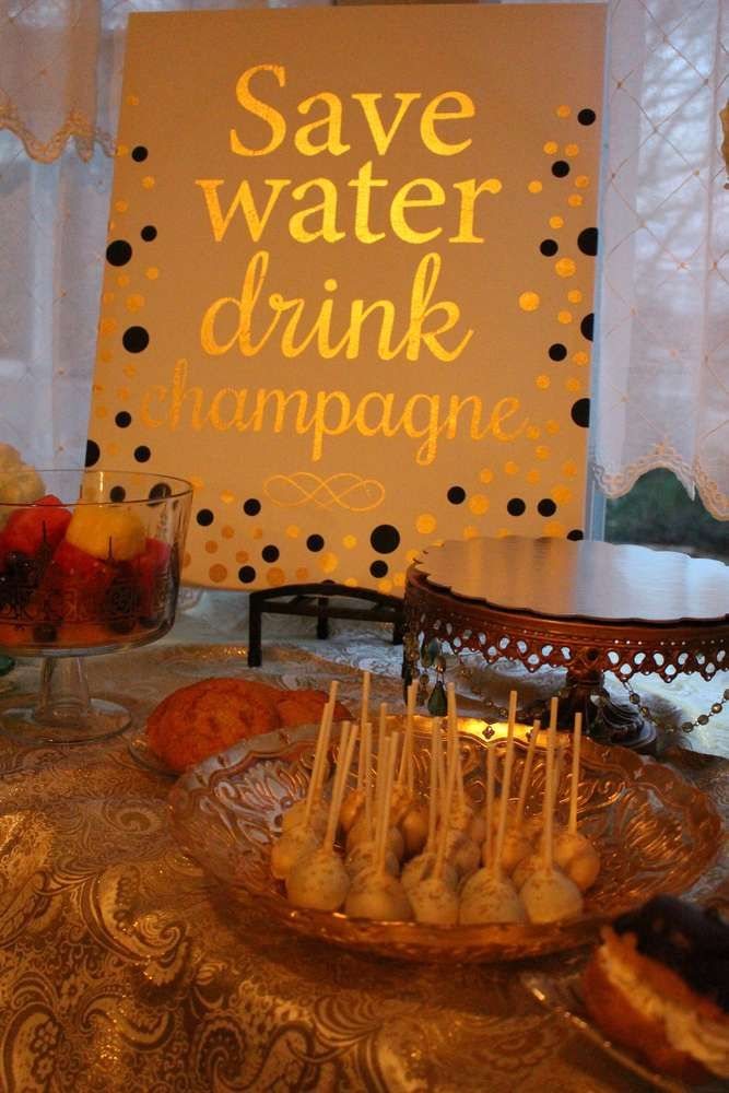 """Except ours would say """"drink more wine!"""" Great idea for the drinks table though. Glittery gold Great Gatsby party! See more party ideas at CatchMyParty.com!"""