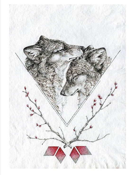 The Closeness of You.  large 11 x 14 inch wolf by NestandBurrow, $25.00
