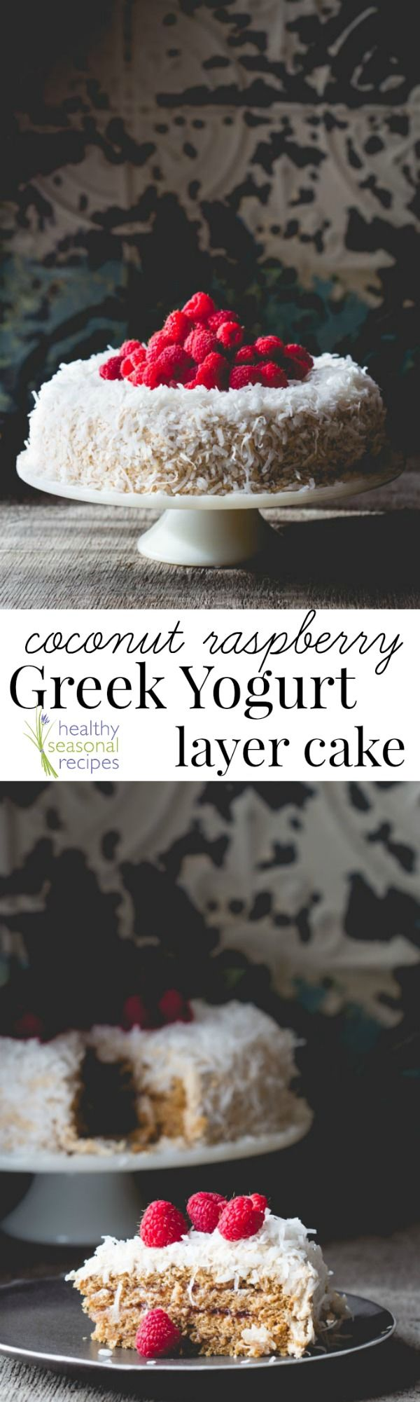 coconut raspberry greek yogurt layer cake - Healthy Seasonal Recipes