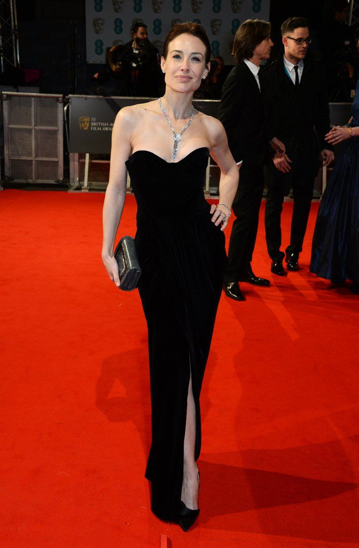 Pin for Later: Stars Go All Out on the BAFTA Awards Red Carpet in London Claire Forlani