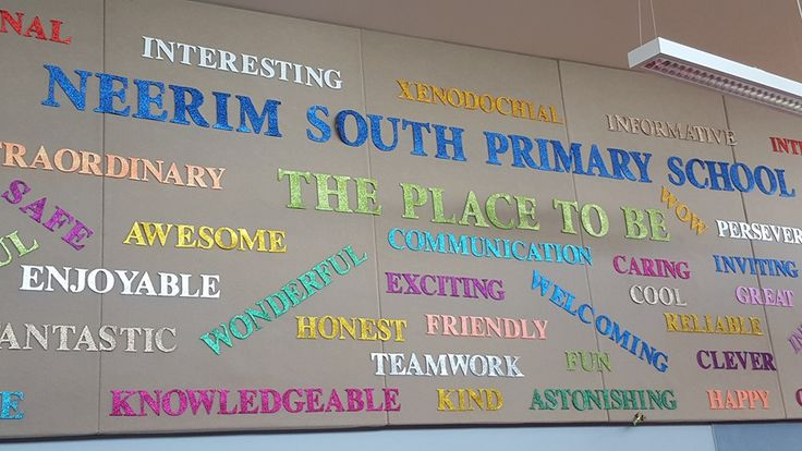Neerim South Primary School, the place to be. An amazing display created with words students have used to describe our school.