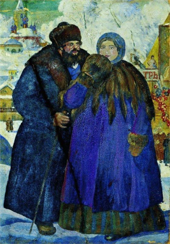 Merchant with his wife - Boris Kustodiev, 1914
