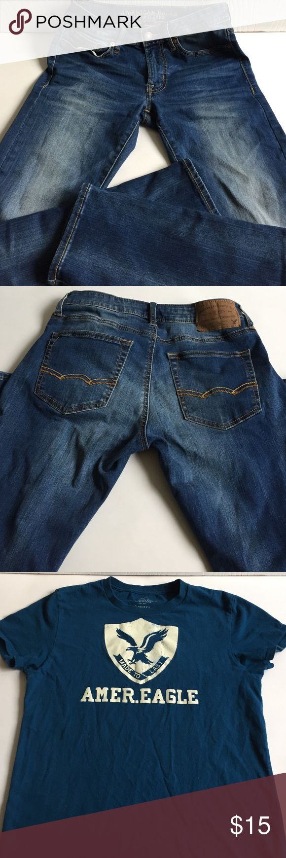 Bundle with American Eagle American Eagle boys jeans size 28 x30 plus a bonus American Eagle T shirt size S bust 18'' length 25'' has a very tiny hole( fixed). Jeans in a very good condition American Eagle Outfitters Bottoms Casual