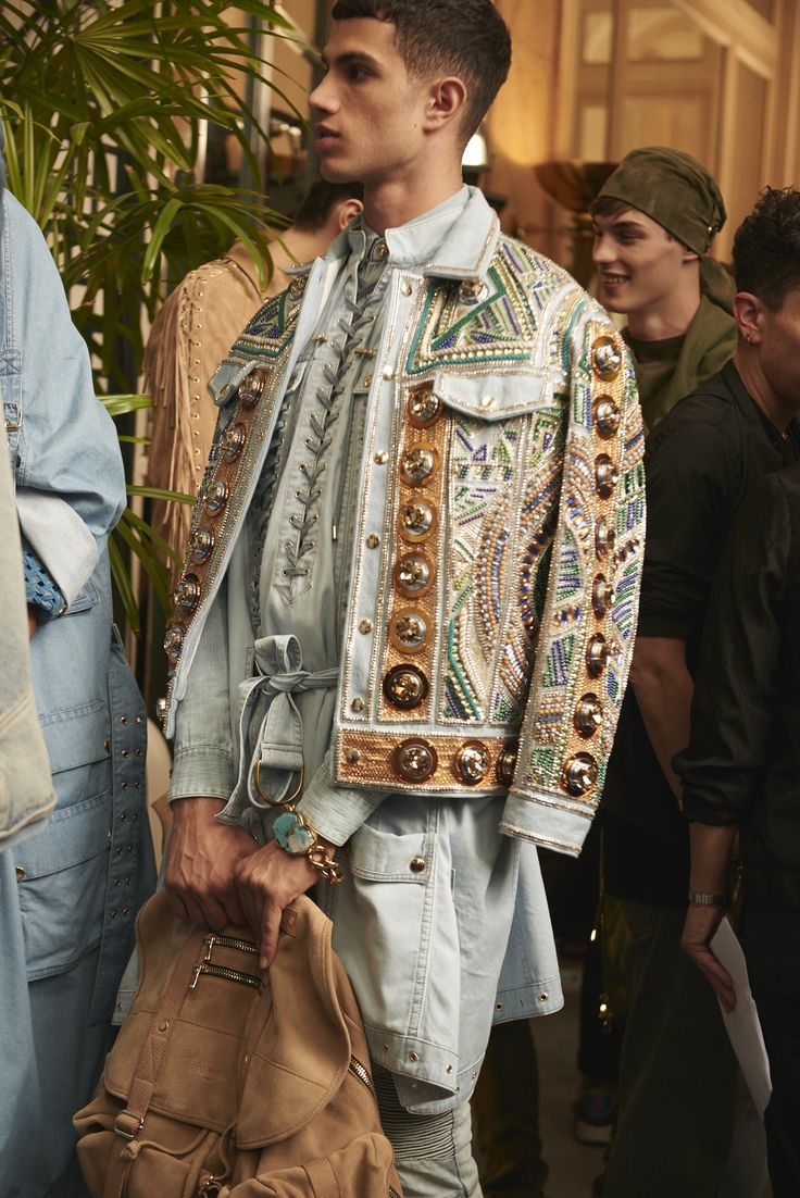 Backstage at Balmain's Splashy Spring 2017 Menswear Show - -Wmag