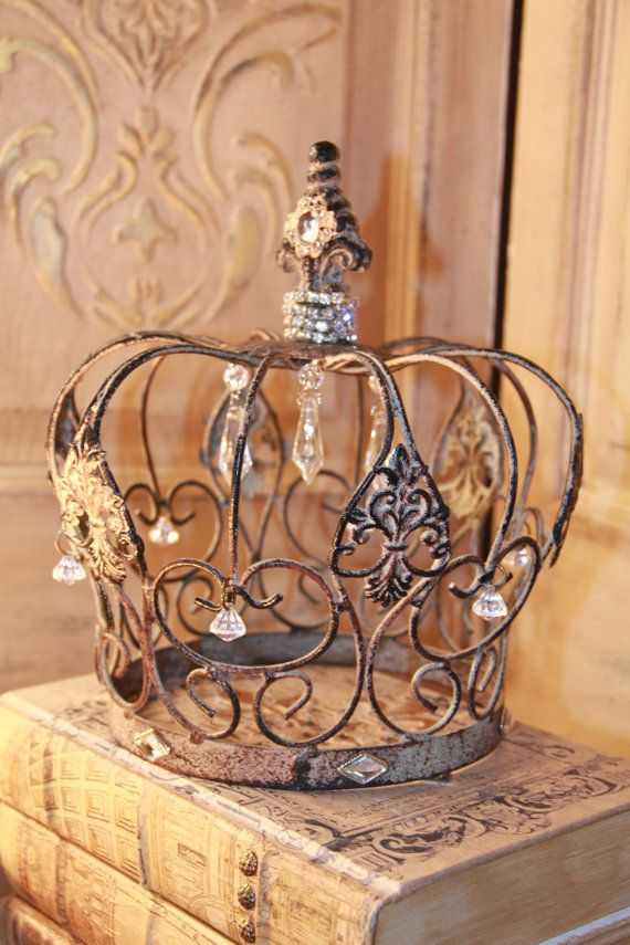 Embellished Metal crown, rusty crown, crown decor, french decor, Mediterranea Design Studio, distressed crown via Etsy